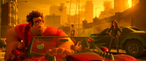 """BUSTED – In """"Ralph Breaks the Internet,"""" Ralph and Vanellope find themselves in need of making some serious cash in order to purchase a replacement part for her game, Sugar Rush. Following a tip from a local Netizen, the two venture into the gritty online racing game Slaughter Race to swipe the prized car of Shank, the game's tough-as-nails boss – but she's not about to let them get away that easily. Featuring John C. Reilly as the voice of Ralph, Sarah Silverman as the voice of Vanellope, and Gal Gadot as the voice of Shank, """"Ralph Breaks the Internet"""" opens in U.S. theaters on Nov. 21, 2018. ©2018 Disney. All Rights Reserved."""