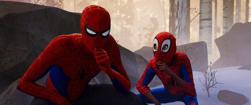 Peter Parker (Jake Johnson) and Miles Morales (Shameik Moore) in Columbia Pictures and Sony Pictures Animation's SPIDER-MAN: INTO THE SPIDER-VERSE.