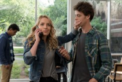 """(from left) Samar (Suraj Sharma), Tree (Jessica Rothe) and Carter (Israel Broussard) in """"Happy Death Day 2U,"""" written and directed by Christopher Landon."""
