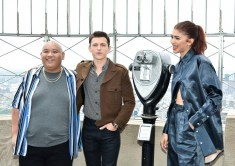 New York, NY - June 24, 2019: Jacob Batalon, Tom Holland and Zendaya from Columbia Pictures' SPIDER-MAN: FAR FROM HOME at the top of the Empire State Building after the lighting ceremony.
