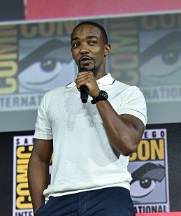SAN DIEGO, CALIFORNIA - JULY 20: Anthony Mackie of Marvel Studios' 'The Falcon and The Winter Soldier' at the San Diego Comic-Con International 2019 Marvel Studios Panel in Hall H on July 20, 2019 in San Diego, California. (Photo by Alberto E. Rodriguez/Getty Images for Disney)