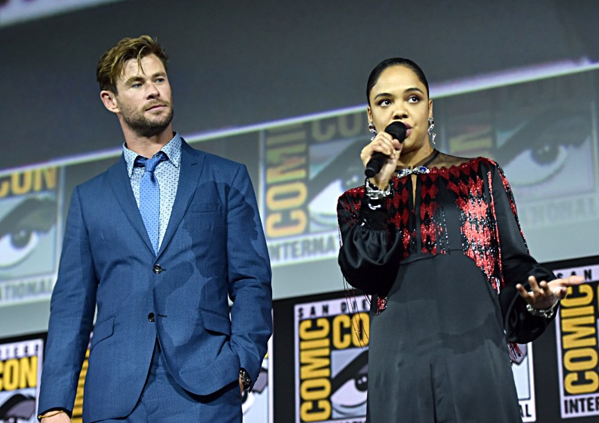 SAN DIEGO, CALIFORNIA - JULY 20: Chris Hemsworth and Tessa Thompson of Marvel Studios' 'Thor: Love and Thunder' at the San Diego Comic-Con International 2019 Marvel Studios Panel in Hall H on July 20, 2019 in San Diego, California. (Photo by Alberto E. Rodriguez/Getty Images for Disney)