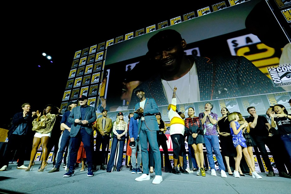 SAN DIEGO, CALIFORNIA - JULY 20: Mahershala Ali (C) of Marvel Studios' 'Blade' at the San Diego Comic-Con International 2019 Marvel Studios Panel in Hall H on July 20, 2019 in San Diego, California. (Photo by Alberto E. Rodriguez/Getty Images for Disney)