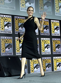 SAN DIEGO, CALIFORNIA - JULY 20: Angelina Jolie of Marvel Studios' 'The Eternals' at the San Diego Comic-Con International 2019 Marvel Studios Panel in Hall H on July 20, 2019 in San Diego, California. (Photo by Alberto E. Rodriguez/Getty Images for Disney)