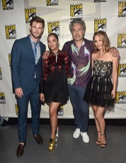 SAN DIEGO, CALIFORNIA - JULY 20: (L-R) Chris Hemsworth, Tessa Thompson, Taika Waititi and Natalie Portman of Marvel Studios' 'Thor: Love and Thunder' at the San Diego Comic-Con International 2019 Marvel Studios Panel in Hall H on July 20, 2019 in San Diego, California. (Photo by Alberto E. Rodriguez/Getty Images for Disney)
