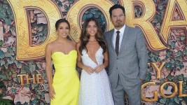 """LOS ANGELES, CA - JULY 28: Eva Longoria, Isabela Moner and Michael Pena attend the LA Premiere Of Paramount Pictures' """"Dora And The Lost City Of Gold"""" held at Regal Cinemas L.A. Live on July 28, 2019 in Los Angeles, California. (Photo by Albert L. Ortega/Getty Images)"""