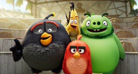 Bomb (Danny McBride), Chuck (Josh Gad), Leonard (Bill Hader) and Red (Jason Sudeikis) in Columbia Pictures and Rovio Animations' ANGRY BIRDS 2.