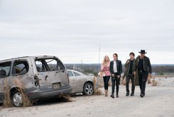 Madison (Zoey Deutch), Wichita (Emma Stone), Columbus (Jesse Eisenberg) and Tallahassee (Woody Harrelson) in Columbia Pictures' ZOMBIELAND 2: DOUBLE TAP.