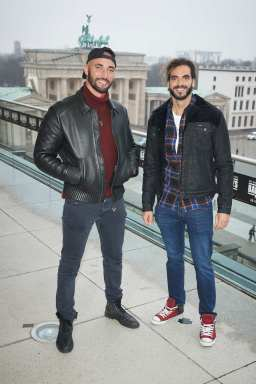 """BERLIN, GERMANY - JANUARY 07: (L-R) Bilall Fallah and Adil El Arbi pose during a photo call for the movie """"Bad Boys For Life"""" at Akademie der Kuenste on January 07, 2020 in Berlin, Germany. (Photo by Sebastian Reuter/Getty Images for Sony Pictures)"""