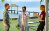 Austin Stowell, Michael Peña and Lucy Hale in Columbia Pictures' BLUMHOUSE'S FANTASY ISLAND.