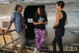 THE OLD GUARD (2020) L-R: KIKI LAYNE, Director GINA PRINCE-BYTHEWOOD, CHARLIZE THERON on the set of THE OLD GUARD. Photo Credit: AIMEE SPINKS/NETFLIX ©2020