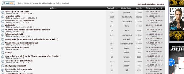 """Näyte Pokeritieto.fin keskustelualueen """"Pokeritarinat"""" osiosta, jonne pelaajat voivat kirjoittaa omista pelikokemuksistaan"""
