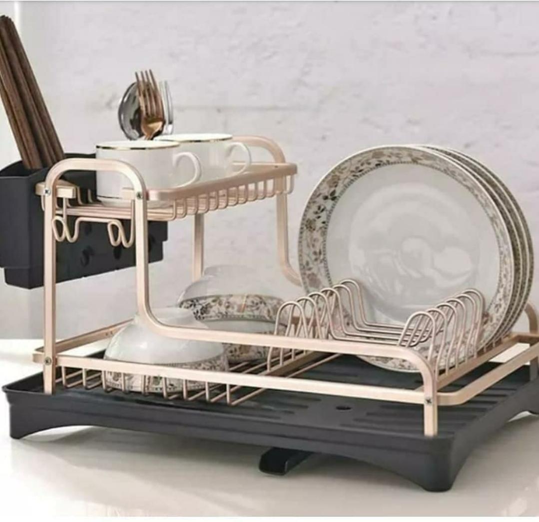 rose gold aluminium dish rack