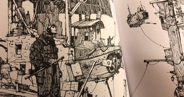 Skisserna får en annan karaktär i svartvitt. Notera svävarskeppet i bakgrunden. Ur Mechs and the City: Another Book of Drawings by Ian McQue.