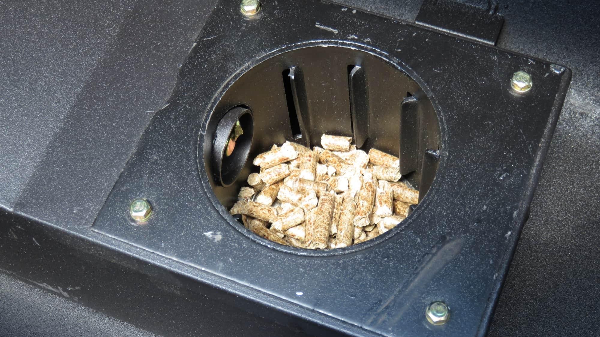 pellets in a pellet grill's firepot