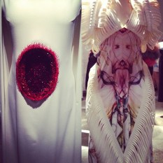 KAAMOS. Fashion Now: Estonia. Britt Samoson's and Liisi Eesmaa's dresses at the exhibition.