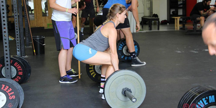 Woman dead lifting weights
