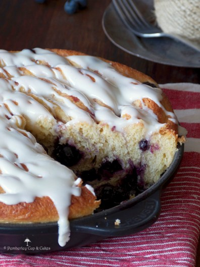 Giant Skillet Blueberry Roll with Cream Cheese Glaze