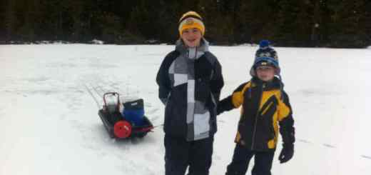 Kids Ice Fishing in British Columbia