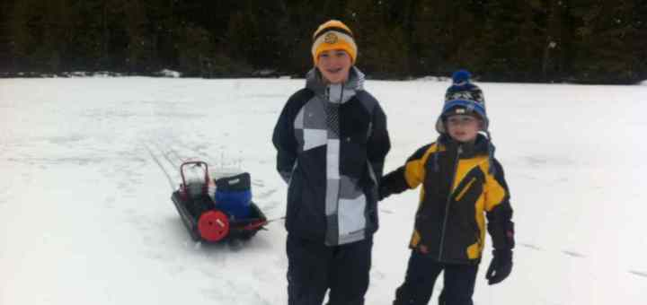 Kids Ice Fishing in British Columbia