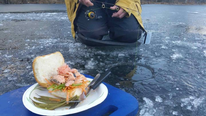 Enjoy a hot lunch while Ice fishing