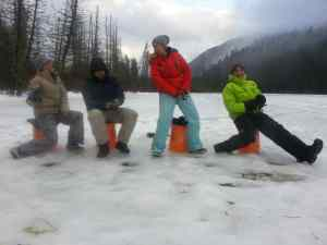 Clients having a Great time while Ice fishing