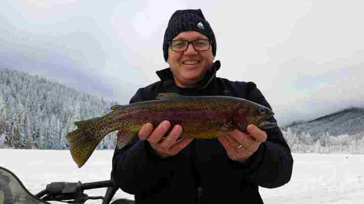 Ice fishing Rainbow Trout in British Columbia Canada