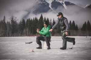 Ice fishing action shot
