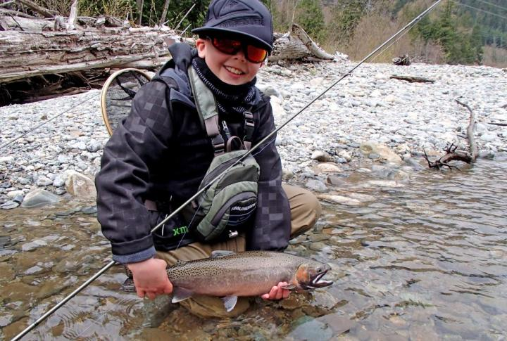 Kids fly fishing in Whistler BC
