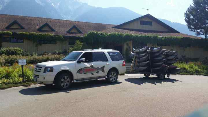 Picking up clients at Big Sky Golf course in Pemberton.  Enjoy our fish and golf packages.
