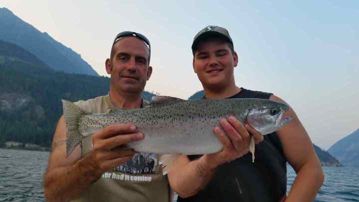Big Rainbow Trout fishing in BC Canada