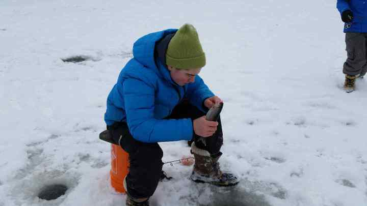 Ice fishing with kids in Whistler BC