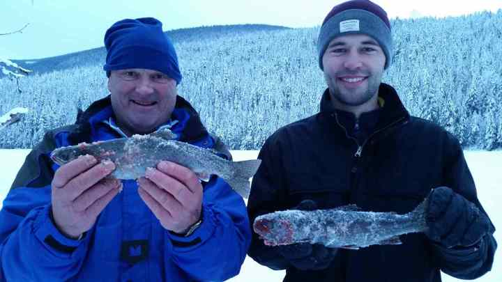 Ice fishing Rainbow Trout in Whistler BC