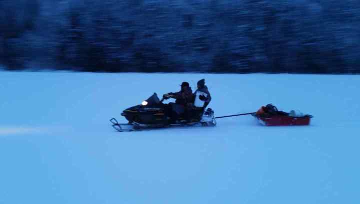 Snowmobile Ice fishing