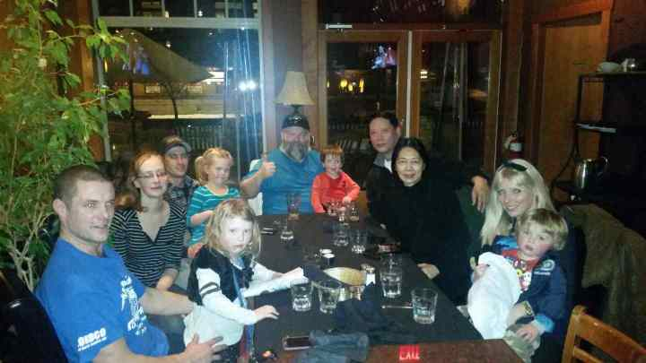 Clients and guides with families get together after a 3 day fishing adventure for drinks and dinner.