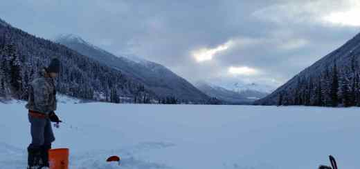 Ice fishing Duffey Lake in British Columbia