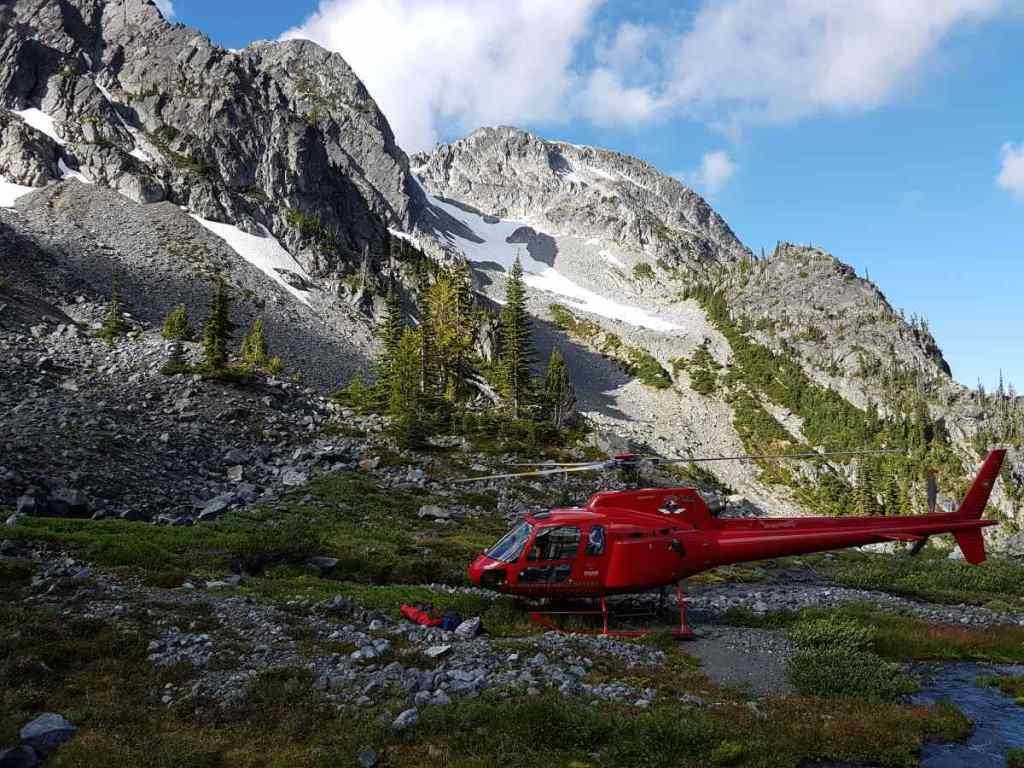 Helicopters landed at an Alpine lake in BC