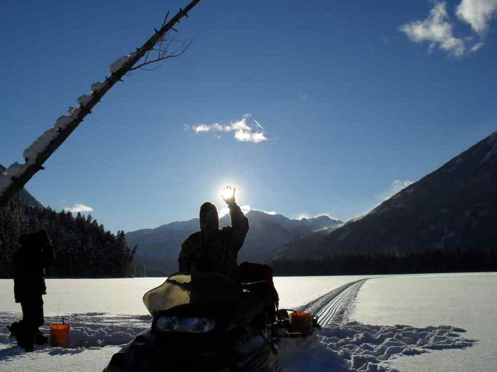 Ice fishing in British Columbia