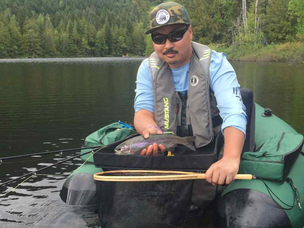 Fly fishing trout in BC