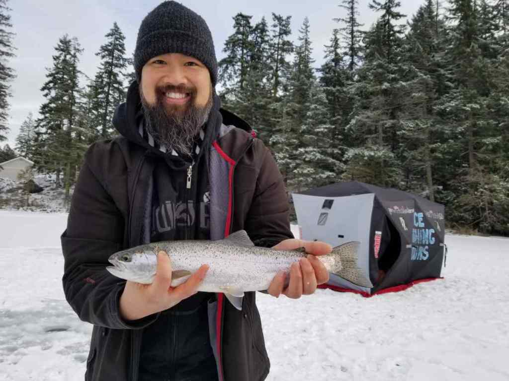 Ice fishing in Pemberton BC