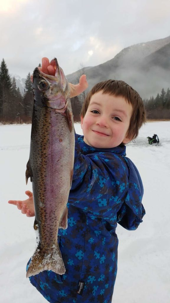 Kids love Ice Fishing in Whistler BC Canada