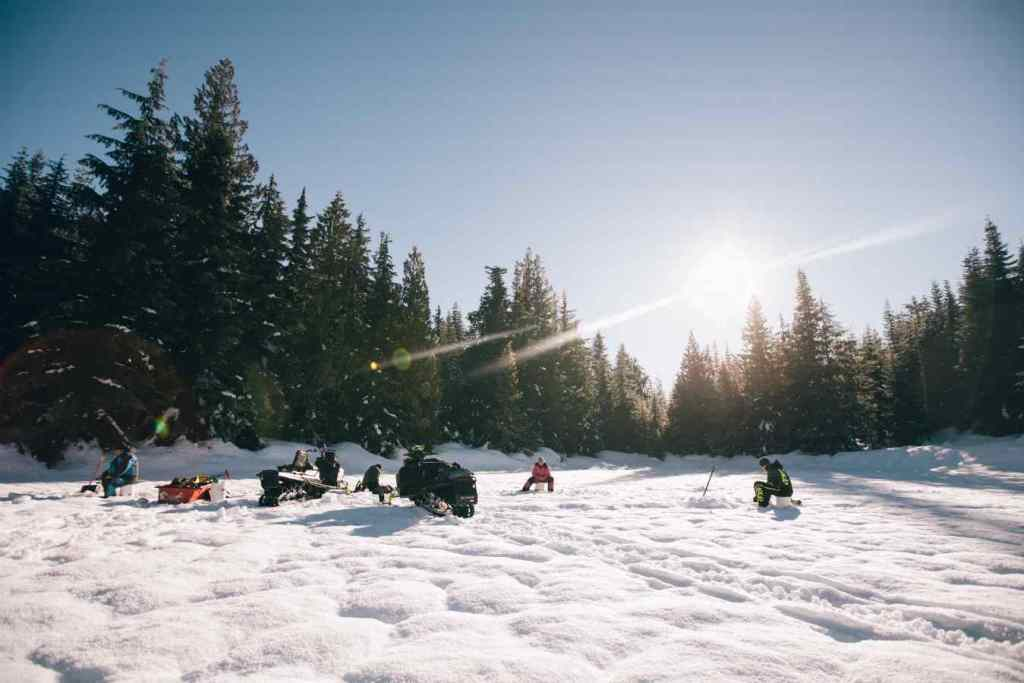Ice fishing with Snowmobiles