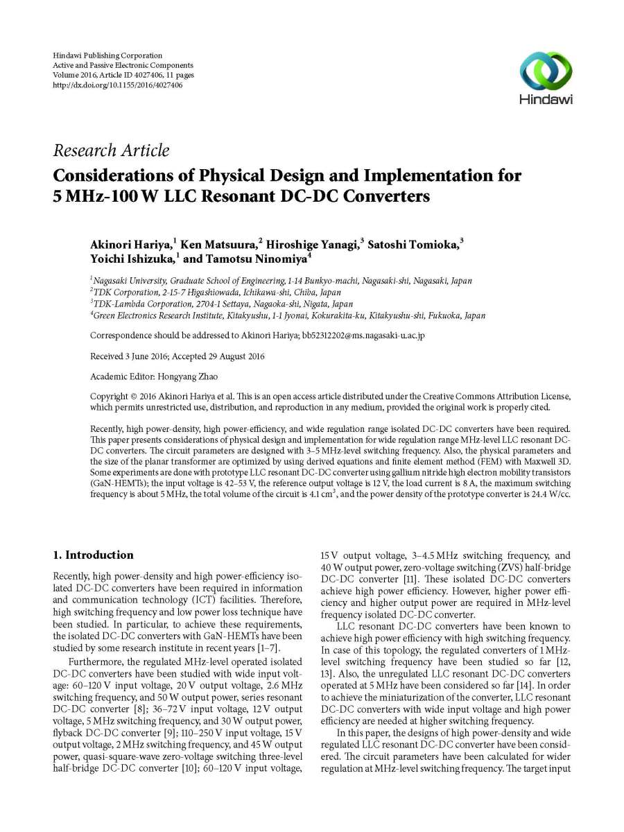 Full Paper: Considerations of Physical Design and Implementation for 5MHz-100W LLC Resonant DC-DC Converters