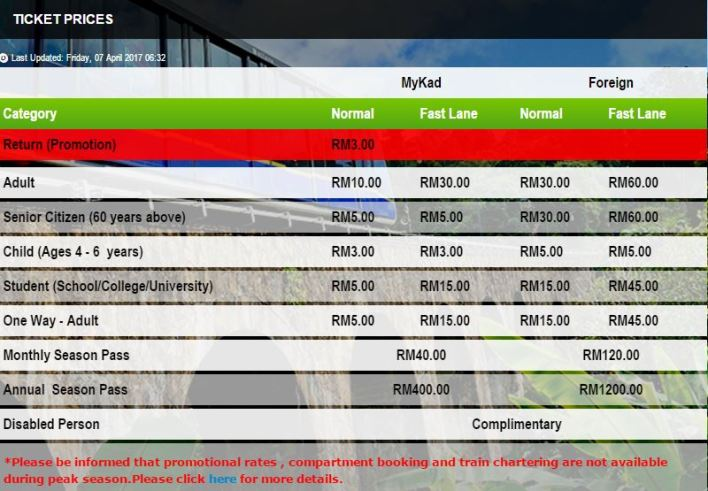 penang hill ticket price