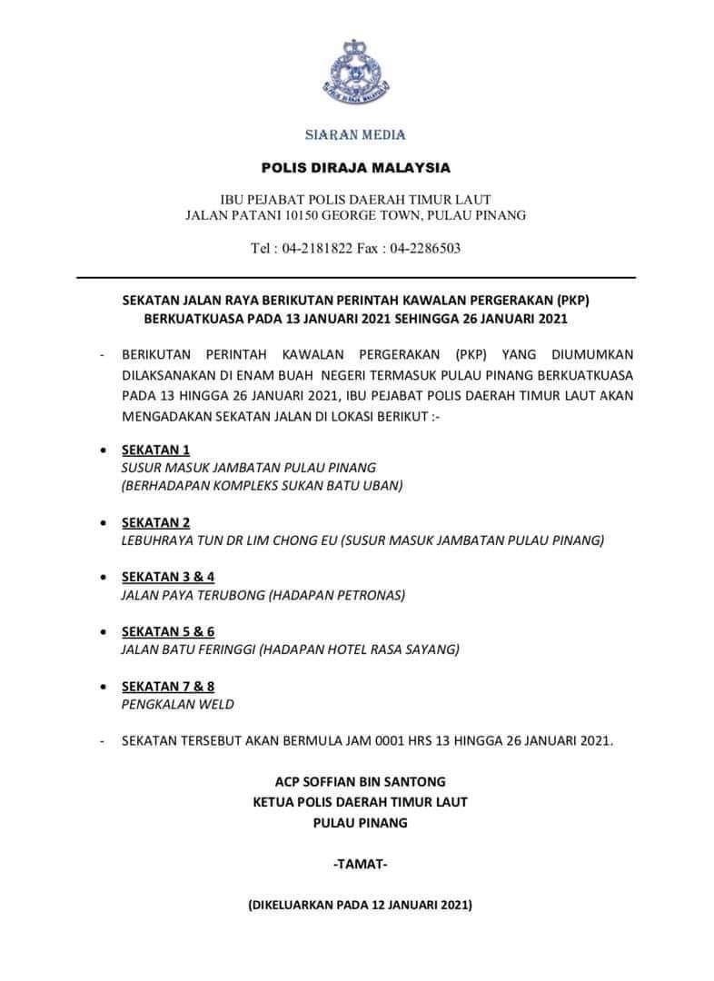 Roadblocks Penang MCO 2.0