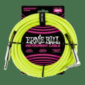 Ernie Ball 18ft Braided Guitar Cable - Neon Yellow penarth music centre