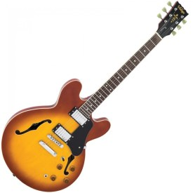 Vintage Semi Acoustic Guitar Honey Burst VSA500HB available at Pencerdd Music store Penarth