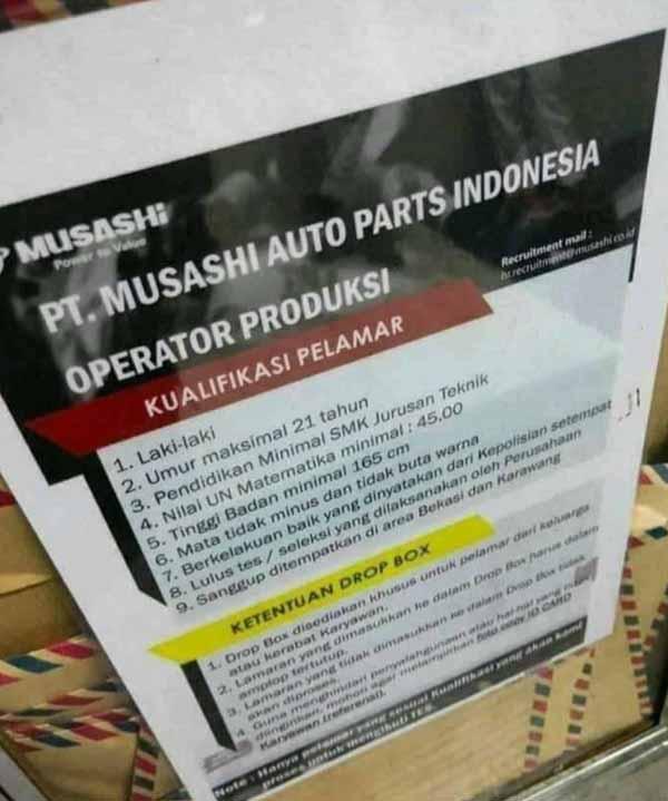 Drop Box Surat Lamaran PT Musashi