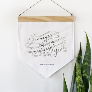 White banner with screenprinted quote