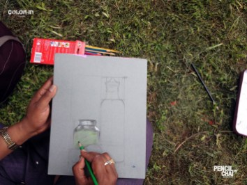 A glass jar being colored! revamp session revealed the secrets of picture composition - Pencil And Chai Object Compsition Sketching Session49 - Revamp session revealed the secrets of Picture composition